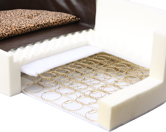 High Back Luxury Dog Bed - This is a real mattress based dog bed, It can support between 100 and 300 lbs. They are all hand made in Southern California. You can see we use a real spring design, then foam and cooling gel for maximum comfort and support.