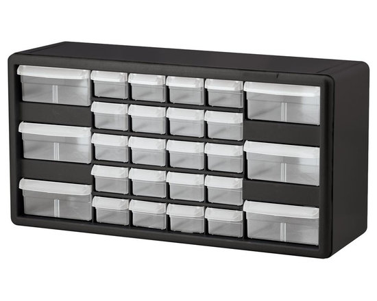 Akro Mills - 26 Drawer Storage Cabinet in Black - Includes dividers for drawers. Flexible see through drawers. Finger grip drawer pulls. Rugged high impact polystyrene frame. Cabinets stack and wall mount. Made from plastic. 10.5 in. W x 6.5 in. D x 20 in. HStrong plastic cabinets organize and protect components.