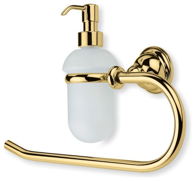 Classic Style Brass Towel Ring with Glass Soap Dispenser, Gold traditional-towel-rings
