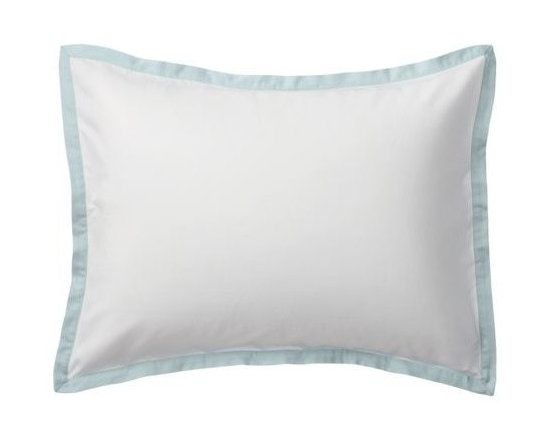 """Serena & Lily - Aqua Border Frame Sham - A clean, simple design for those who crave a quieter bed. Sham features crisp 300-thread-count 100% cotton sateen with 1"""" band in Aqua."""
