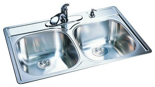 """33"""" x 22"""" x 9.5"""" 18 Gauge Stainless Steel Double Bowl Kitchen Sink modern-bath-products"""