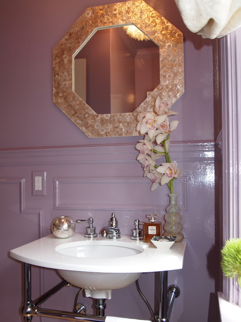 Lavender Lacquered Powder Room traditional