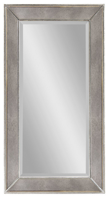 Large antique silver rectangle wall mirror transitional for Big silver mirror