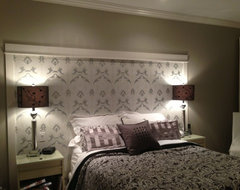 Bedroom How About Creating A Wallpaper Headboard My Hubby Framed It Out With Baseboard Trim And