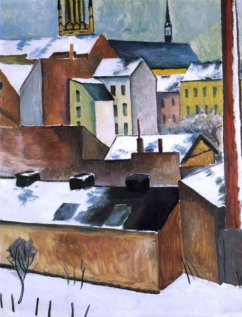 """August Macke St Mary's in the Snow - 18"""" x 24"""" Premium Archival Print traditional-artwork"""