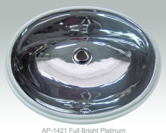 "Hand Painted Undermounts by Atlantis Porcelain - ""FULL BRIGHT PLATINUM"" Shown on AP-1421 white Ovalyn undermount 17-1/2""x14-1/2"". This design is available in bright gold and bright platinum on any of our sinks. You can customize the finish  to match your specific décor."
