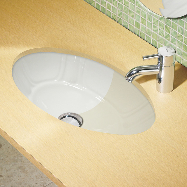 White decorative undermount lavatory with overflow for Decorative undermount bathroom sinks