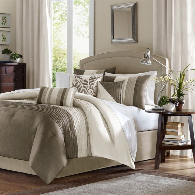 Madison Park Amherst 7-piece Comforter Set, Natural modern-comforters-and-comforter-sets