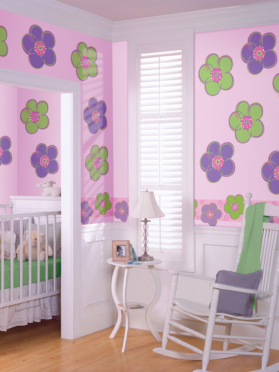 "Poppy Flower Set of Wall Decals - Add a springtime splash of color to any room with the oh so popular Poppies. This pack contains sixteen 13"" Poppy WallPops (eight green and eight purple). WallPops are repositionable and always removable."