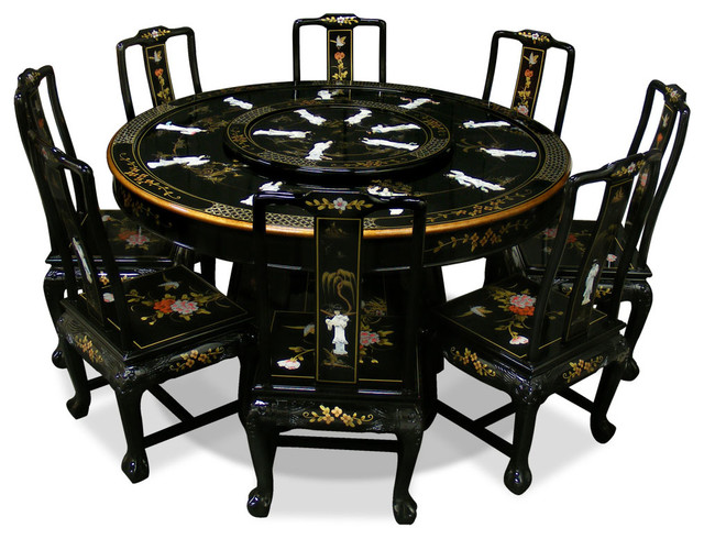 60in Black Lacquer Dining Table with 8 Chairs - Asian - Dining Tables - by China Furniture and Arts