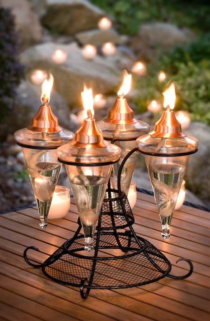Backyard Tiki Torches : Table Top 4 Glass Torch  Traditional  Outdoor Lighting  other metro