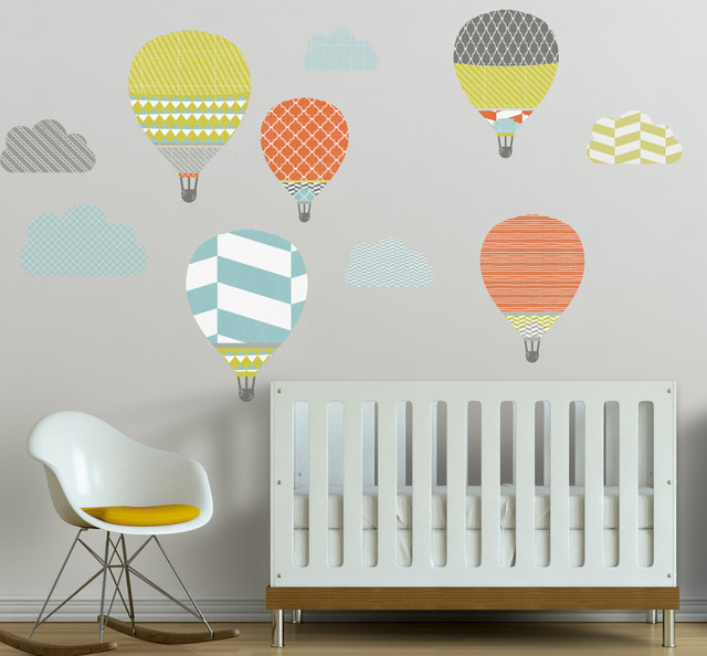 High in the sky hot air balloons removable wall decal - Modern nursery wall decor ...