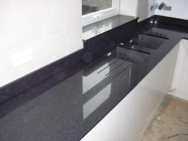 Glass vanity table set - Ferio Black Quartz Worktops Samsung Radianz Contemporary