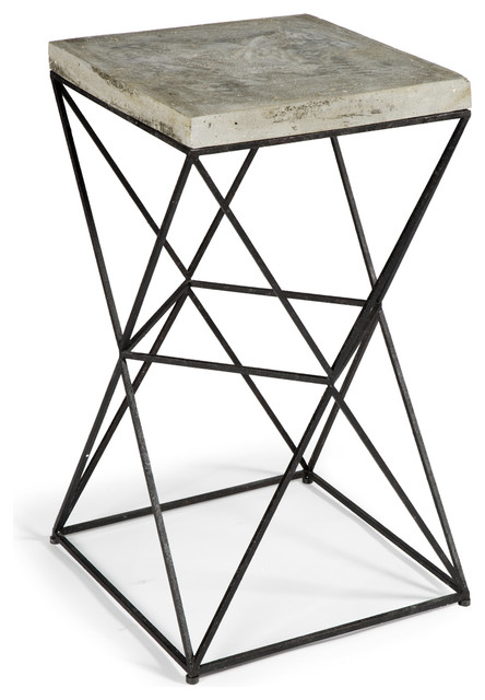 Eames industrial loft metal concrete square end table - Table basse metal industriel loft ...