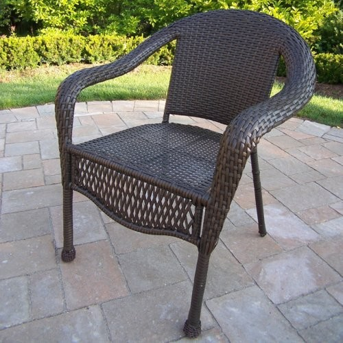 Oakland Living Elite All-Weather Wicker Dining Chair contemporary outdoor chairs
