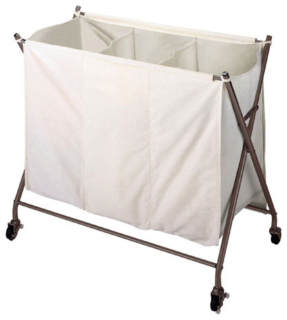 3 bin laundry sorter with wheels in metallic bronze