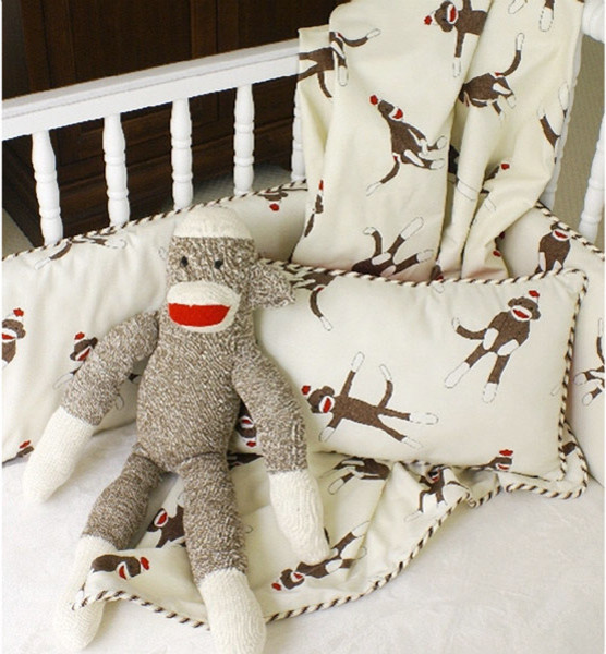 Maddie Boo Sock Monkey 3 Piece Crib Set modern baby bedding