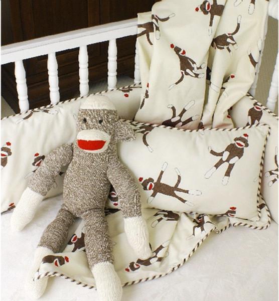 Maddie Boo Sock Monkey 3 Piece Crib Set modern-baby-bedding