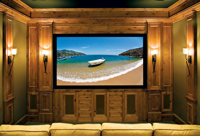 Canyon Creek Cornerstone - Falmouth Inset in Rustic Alder with a Pecan stain traditional-home-theater