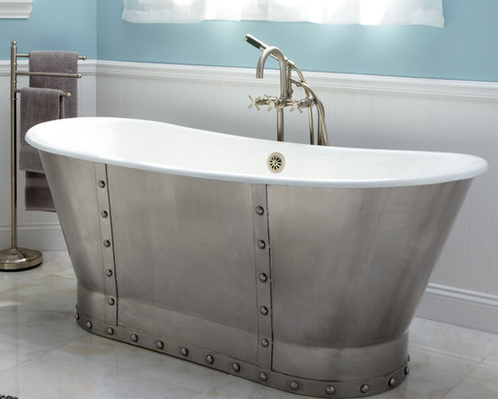 "Amazing Tubs - 68"" Brayden Cast Iron Bateau Tub with Riveted Stainless Steel Skirt"