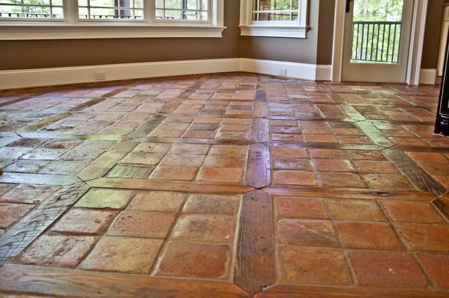 Antique Reclaimed French Terracotta Oak Floor Inlay