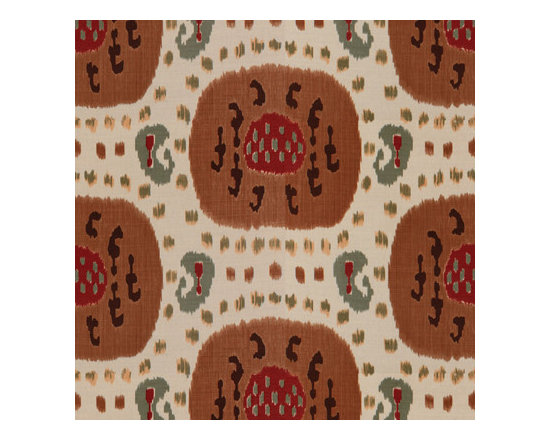 Samarkand Cotton and Linen Print — Brown on Beige -