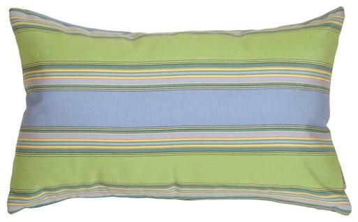 Pillow Decor - Sunbrella Bravada Limelite 12 x 20 Outdoor Pillow contemporary-outdoor-pillows