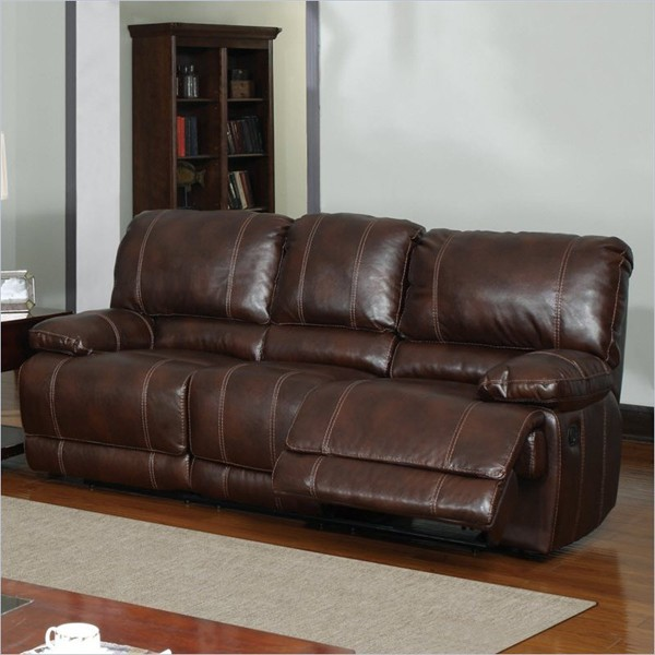 Global furniture 1953 recliner sofa in brown leather for Traditional brown leather couch