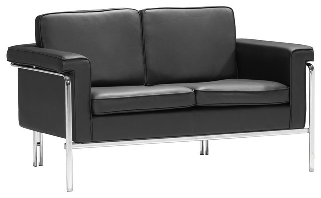 Zuo Singular Black Leatherette and Chrome Love Seat contemporary-loveseats