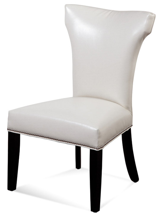 Bassett Mirror - Nelson Nailhead Parsons Chairs, Ivory, Set of 2 - Style your transitional decor with these Nelson Nailhead Parsons Chairs. Features include an ivory kleen seat, hammerhead back, solid black legs and silver nailhead trim on the front and side seat rails. Set these chairs at your dining room or kitchen table for a sleek, sophisticated look.