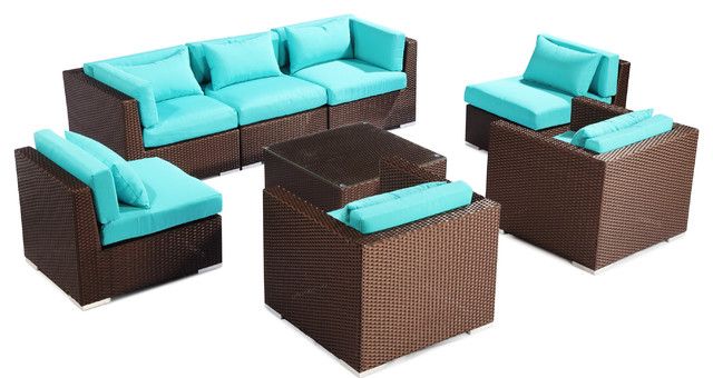 Modify It Outdoor Furniture Patio Sofa Sectional Molokai 8 pc Set Turquoise