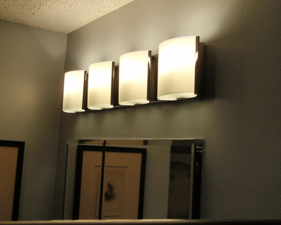 """Possini - Contemporary Bathroom Remodel with mosaic and porcelain tile - Possini Frosted Glass Bands 26 1/2"""" Wide Bathroom Wall Light  Style # P5692. Silver Half Dollar Benjamin Moore Silver Half Dollar 2121-40, enhances contemporary look."""