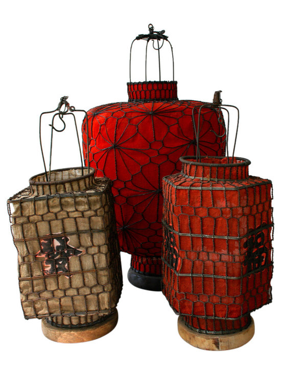Chinese Lanterns - Vintage Chinese party lantern trio. Each a bit different. Fabric and wirework with hooks for hanging.