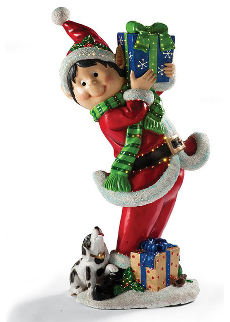 Fiber optic elf with gifts frontgate outdoor christmas Traditional outdoor christmas decorations