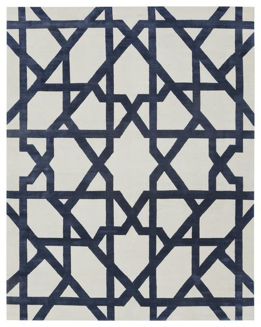 Blue And White Geometric Rug
