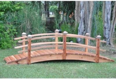 Redwood 12 ft Curved Rail Garden Bridge Modern Patio