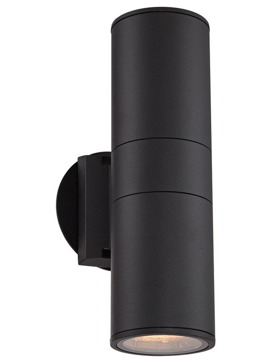 "Possini Euro Design - Possini Euro Ellis Black Outdoor Up and Downlight - Add this black finish outdoor wall light to your porch or other outside wall. The cylinder shape aluminum body in black will stand out against your wall. This downlight style fixture sends beautiful illumination out from the bottom of the design. Cylinder style outdoor downlight. Black finish. Aluminum construction body. Tempered glass lens.  Two max 60 watt medium base bulbs (not included).  Cylinder style outdoor downlight.  Black finish.  Aluminum construction body.  Tempered glass lens.   Two max 60 watt medium base bulbs (not included).  11 3/4"" high.  3 3/4"" wide.  Extends 6"" from the wall."
