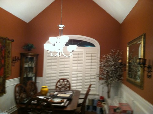 Vaulted ceiling in dining room needs help for 10 x 12 dining room