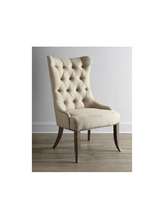 """Horchow - Two Donabella Tufted Chairs - Dramatic chair with gracefully curved silhouette, highlighted by a button-tufted back, is finished with sleek, tailored legs. Mixed hardwood frame. Polyester upholstery. Sold in pairs; each, 26.5""""W x 31.25""""D x 46""""T. Imported. Boxed weight, approxi..."""
