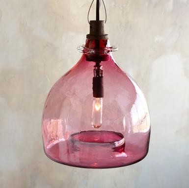 Rivendell Glass Pendant Chandelier, Pink contemporary pendant lighting