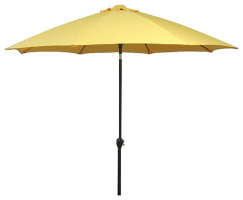 Fiberglass Yellow Crank and Tilt 9-foot Umbrella contemporary-outdoor-umbrellas