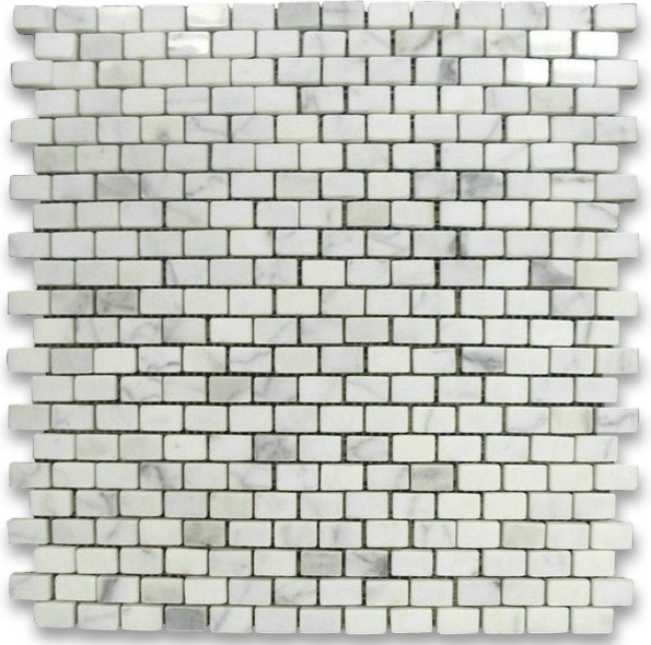 Calacatta Gold 5/8 x 3/4 Mini Brick Mosaic Tile Polished - Marble from Italy mosaic-tile