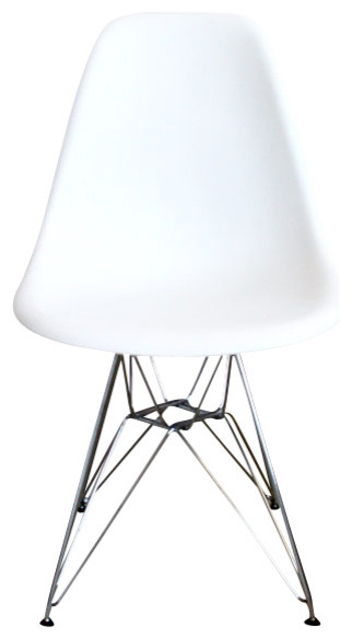 Dsr white mid century modern plastic dining shell chair with steel
