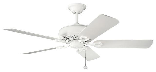 "Kichler Lighting 300118SNW Bentzen Satin Natural White 52"" Ceiling Fan transitional-ceiling-fans"