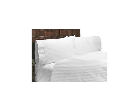 SCALA - 600TC 100% Egyptian Cotton Stripe White Full Size Flat Sheet - Redefine your everyday elegance with these luxuriously super Flat Sheet  . This is 100% Egyptian Cotton Superior quality Flat Sheet that are truly worthy of a classy and elegant look.