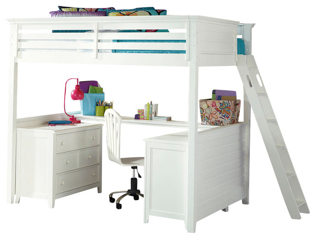 Lea Willow Run 4-Piece Tall Loft Bedroom Set with Desk in Linen White traditional-kids-products