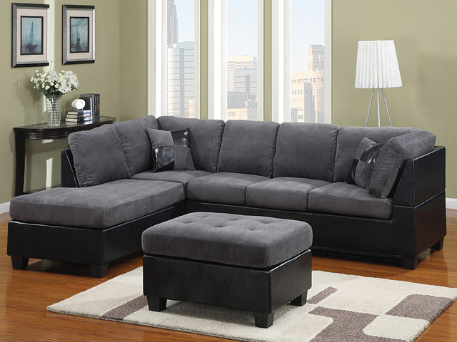 Grey fabric and black leather sectional modern Red and grey sofa