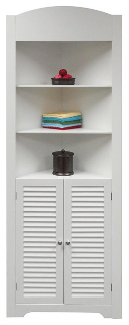 Ellsworth Tall Corner Etagere in White contemporary-storage-units-and-cabinets