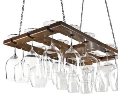 Hanging Oak Stemware Rack modern-pot-racks-and-accessories