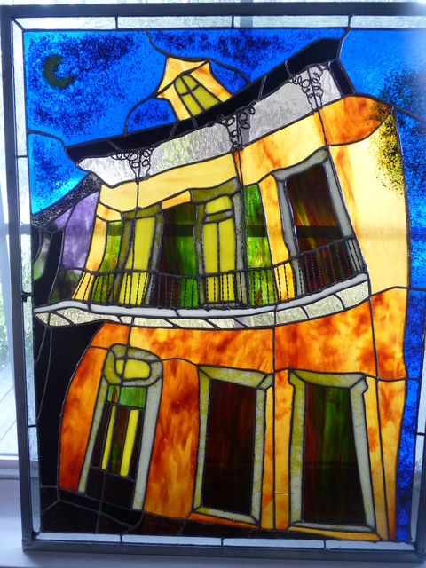 Mixed media glass art New Orleans style windows-and-doors